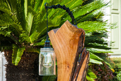Hanging Lamp on Preserved  Wood