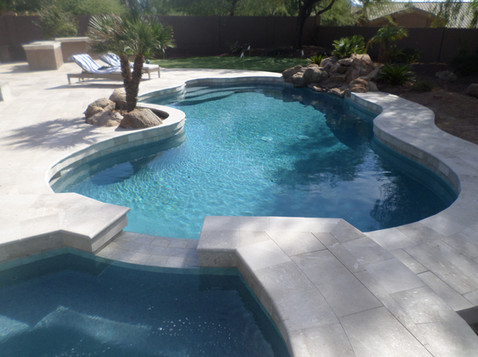 Pool Remodel in Cave Creek, AZ with Blue Surf Pebble Sheen and Limestone Deck