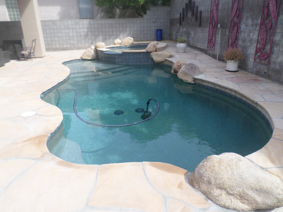 Swimming Pool Remodel in the Biltmore Area of Central Phoenix with Blue Granite Pebble Sheen