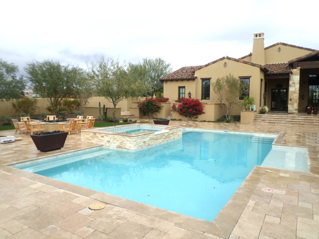 Pool Remodel in Chandler with Cool Blue Pebble Sheen with Golden Honey Ledgestone and New Tile