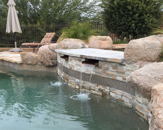 Copper Scuppers, Swimming Pool Remodel, Pebble Tec, Scottsdale Arizona, Flagstone Cap