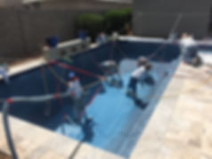 Swimming Pool Service & Repair fixing the pool in a remode stage. We are prepping the pool for resurfacing in Chandler.