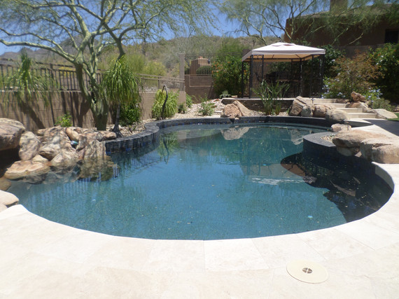 Pool Remodel in Mcdowell Mountain with Ocean Blue Pebble Sheen