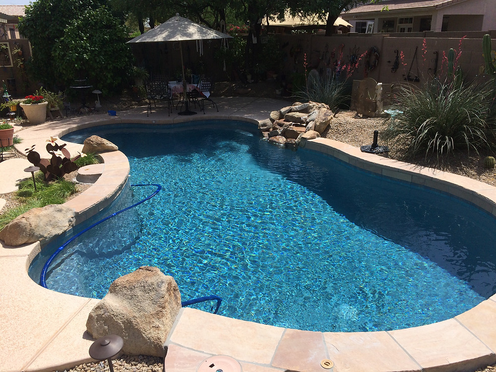 Blue Surf Pebble Sheen Pool Resurface and Remodel in Phoenix