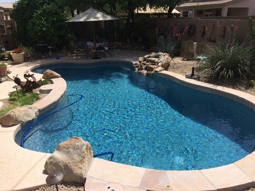 Swimming Pool Remodel with Blue Surf Pebble Sheen