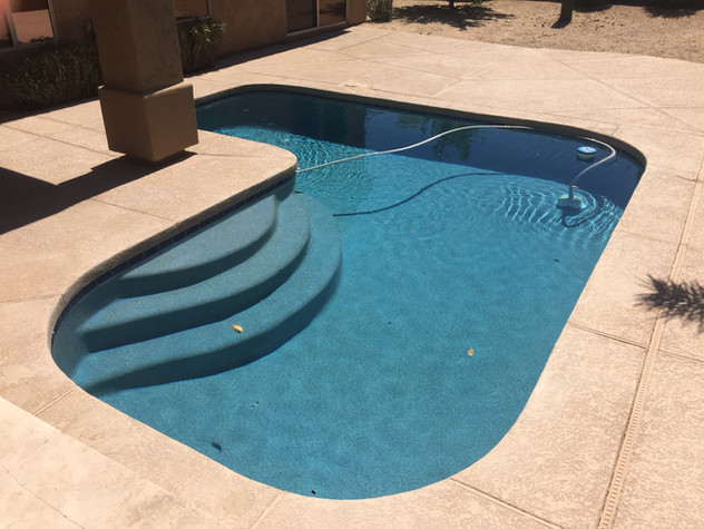 Simple Pool Resurface in Cave Creek with Blue Surf and Cobalt Blue Waterline Tile