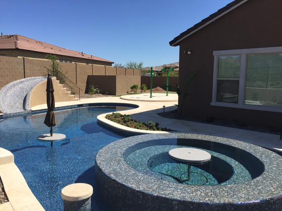 Swimming Pool with Beadcrete, All Tile Slide, Splash Pad and Dumping Buckets