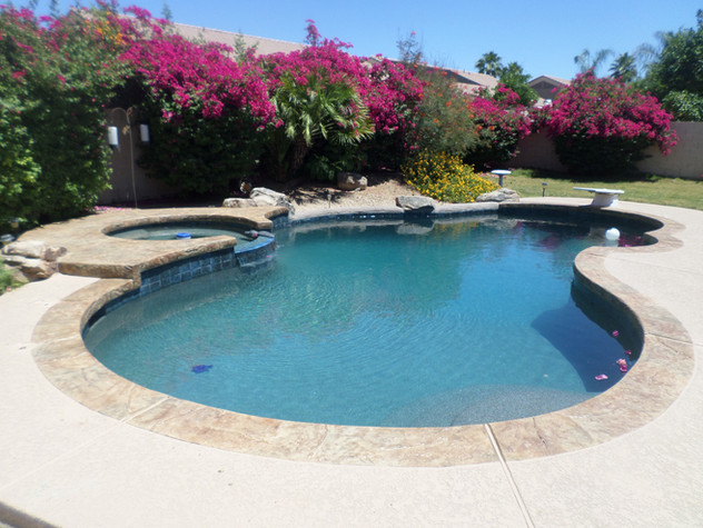 Swimming Pool Remodel in Glendale with New Deck, Acrylic Accent and Turtle Bay Pebble Sheen