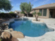This is a Pool Remodel in Scottsdale with Blue Surf Pebble Sheen, GMS Silver Waterline Pool Tile with Resurfacing. Pool Repair and Renovation at it's best.