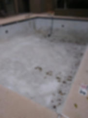 Swimming Pool Drained and Ready for demo, pool repair, contruction and the resurface with pebble sheen and pebble tec.
