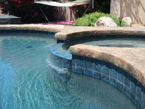 Swimming Pool Remodel in Glendale with Tile Spillway with Turtle Bay Pebble Sheen