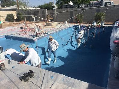 Pebble Sheen pool renovation in phoenix. Replastering an old white plaster pool in Scottsdale, AZ
