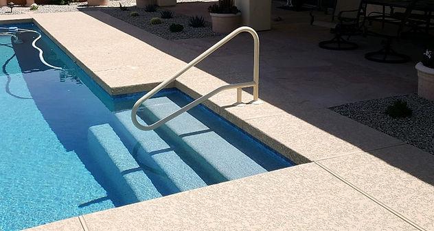 Saftron CBRTD-354 Beige Handrail Installation with Aqua Blue Peble Sheen and Acrylic Deck Kool Deck.