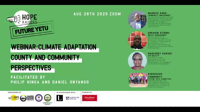 Webinar on climate adaptation. Discussion with representatives from county and community.