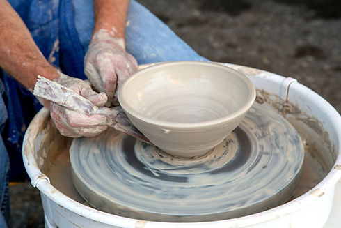 Clay Pot on Pottery Wheel