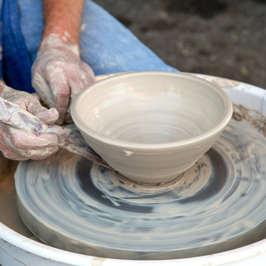 Clay Pot on Pottery Wheel