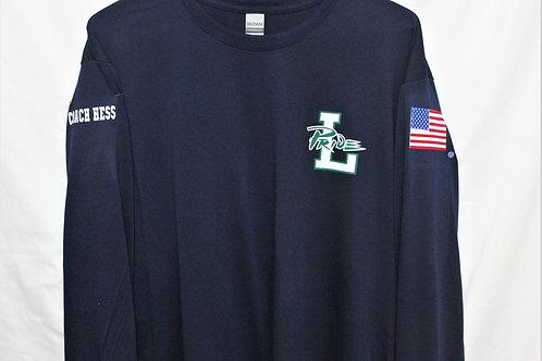 Leesville Pride Long-Sleeve American T-shirt, Unisex, 100% polyester, navy