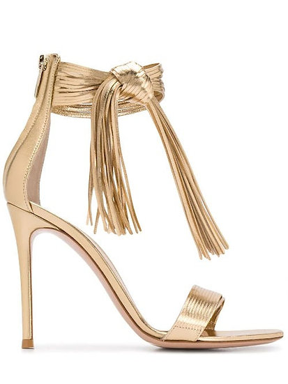 GIANVITO ROSSI Noelle Gold Sandals