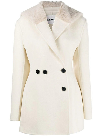 JIL SANDER Oversized Faux Fur Lapel Coat