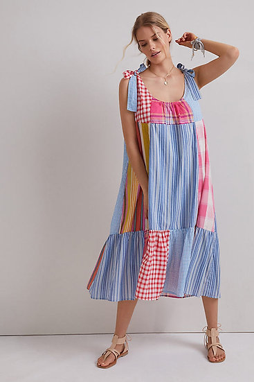 ANTHROPOLOGIE FR Midi Patchwork Dress