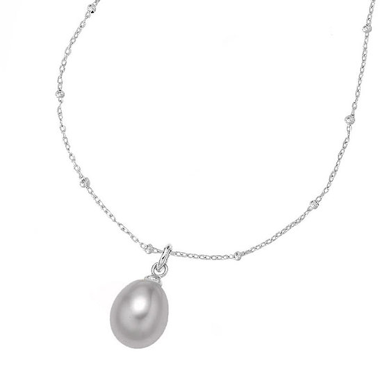 DOWER & HALL Chain & 8mm Oval Dove Grey Pearl Pendant