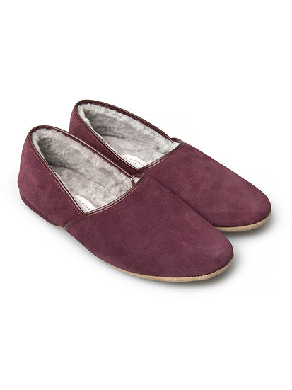 DEREK ROSE Men's  Slipper Suede Sheepskin Bordeaux