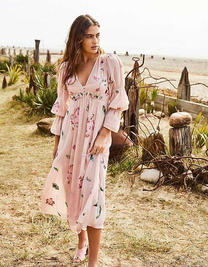MONSOON Embroidered Floral Tea Dress