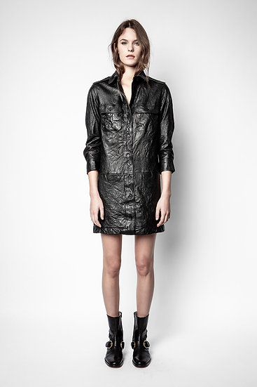 ZADIG & VOLTAIRE Wrinkled Leather Dress