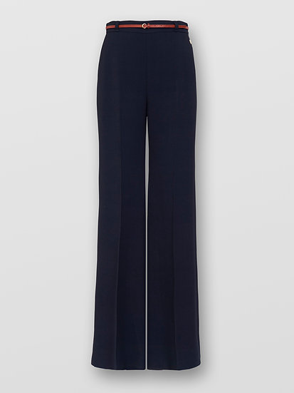 HLOÉ Women Flared Ink Navy Trousers