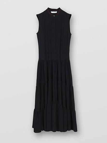 CHLOE Tiered Black Midi Dress