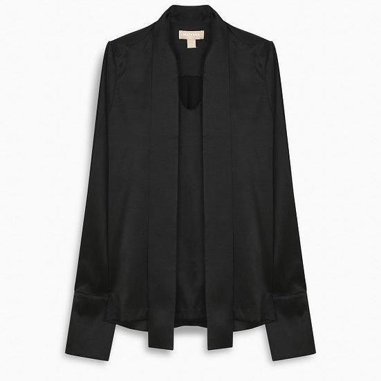 MATÉRIEL Black Lavallière Collar Shirt