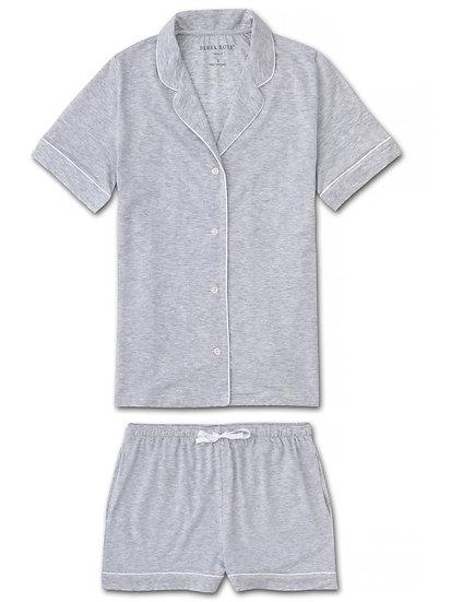 DEREK ROSE Women's Jersey Shortie Pyjamas Ethan Micro Modal Stretch Silver