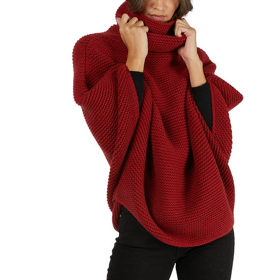 BARNA CASHMERE Red Cashmere Poncho