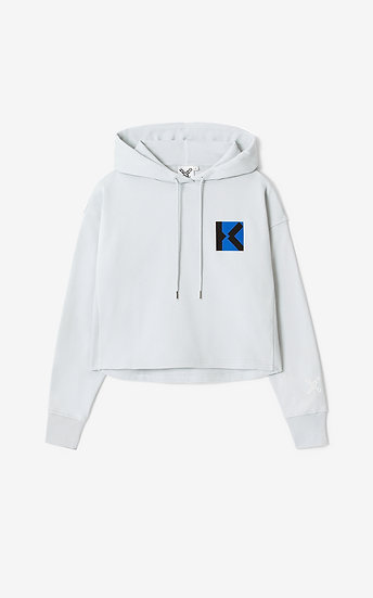 KENZO Women White Hooded Sweatshirt.