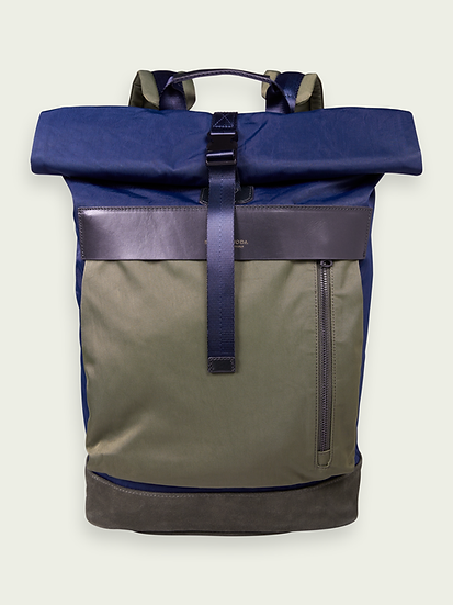 SCOTCH & SODA Leather-trimmed rolled top backpack