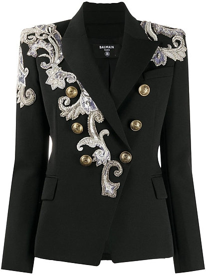 BALMAIN Black Wool Blazer With Silver Embroidery