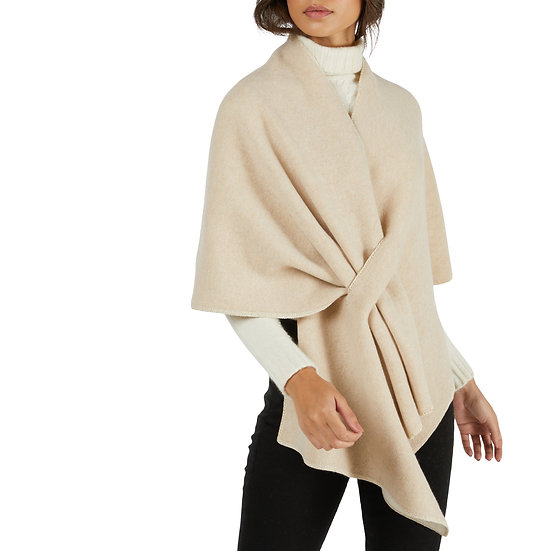 Curling Collection Beige Cashmere Poncho