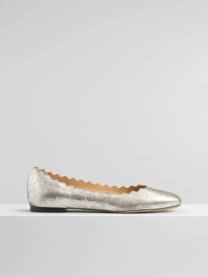 CHLOÉ Lauren Ballerina  Grey Glitter Size 6