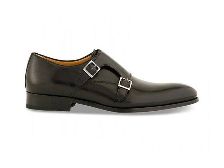 ACE MARKS Monk strap Black Men Leather Shoes