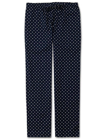 DEREK ROSE Women's Lounge Trousers Plaza 60 Cotton Batiste Navy