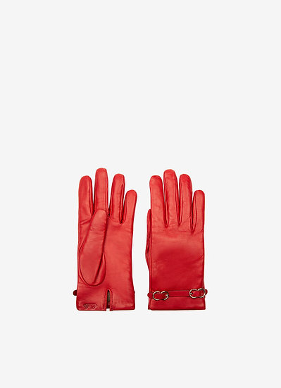 BALLY Infinity Red Buckle Gloves
