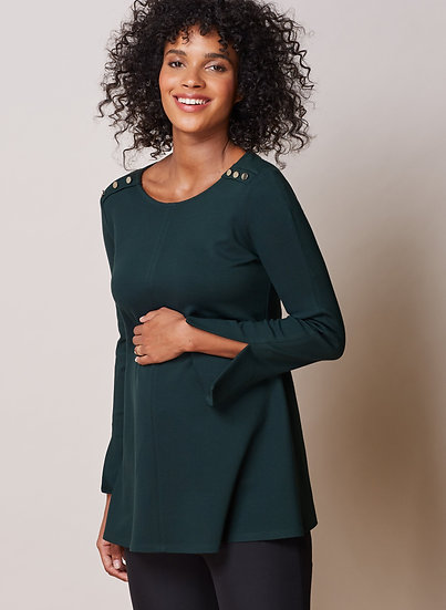 ISABELLA OLIVER Paige Maternity Button Top-Military Green