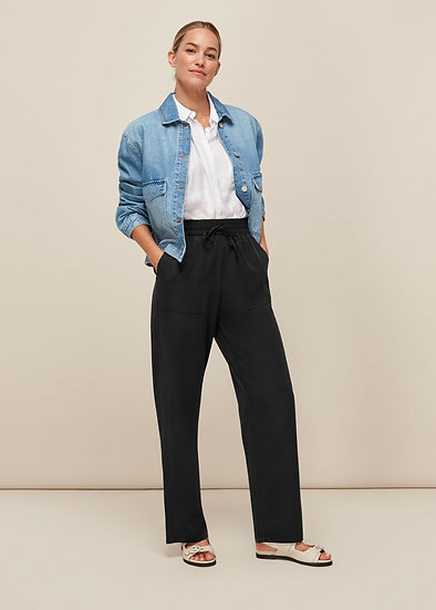 WHISTLES Black Washed Trousers