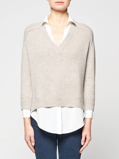 BROCHU WALKER Wool & Cashmere Women V Neck Jumper