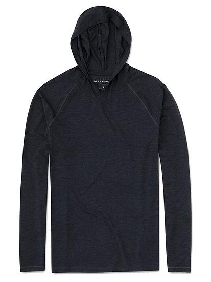 DEREK ROSE Men's Jersey Pullover Hoodie Marlowe Micro Modal Stretch Anthracite