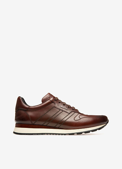 BALLY UK Assio Brown Leather Trainers