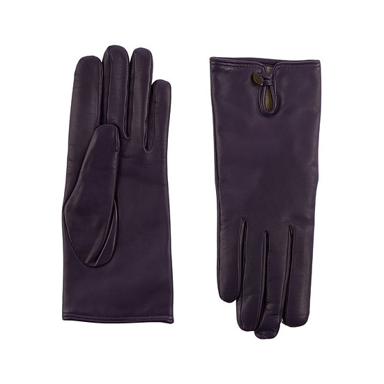 JERRY SAVED Purple Leather & Cashmere Lining Gloves