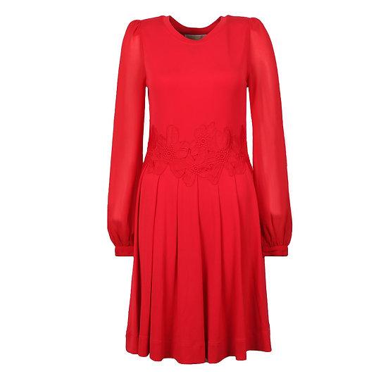 MICHAEL KORS Lace Combo Red Dress