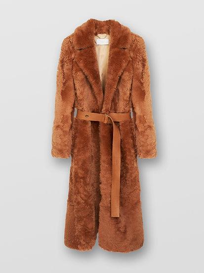 CHLOÉ Long coat Women's Beige Rose Size 8 100% Lambskin