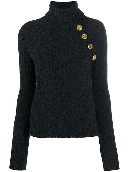 BALMAIN Black Roll Neck Jumper